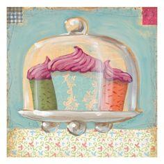 Three Cupcakes Giclee Print by K. Tobin at Art.com