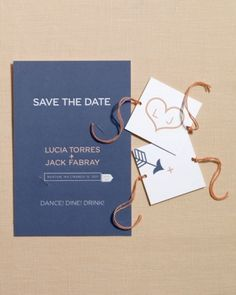 Spinner Card Save-the-Date, with finger print heart on the spinner card ... and the gold trim card...