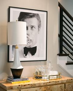 Home bar inspiration from Jessica McIntyre Interiors featuring the Neale Table Lamp by kate spade new york. Circa Lighting, Bedside Table Lamps, Black Lamps, Light Shades, End Tables, Home Art, Floor Lamp, Lights, Living Room