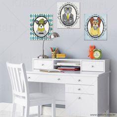 Muito estilo! 3 gravuras aplicadas em placas de MDF