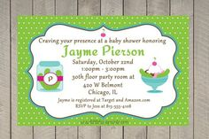 Pickles and Ice Cream Baby Shower Invitations-pickles, ice cream, baby shower, craving, sweet, sour,