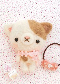 "Hamanaka H441-312 Japanese felt wool kit hand Roh Roh Hira size mascot kit ""puss + hair elastic"""