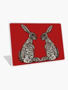 """Tribal Bundoodle - intricate Rabbit Design"" Laptop Skin by YollieBeeArt   Redbubble"