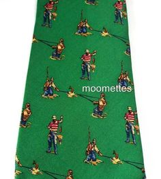Angler Fish Tie Ralph Lauren Fisherman #Fishing Pure Silk Mens Necktie Green   #RalphLauren