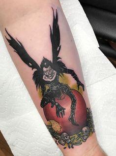 Ryuk tattoo, done by Blake Cranford at Black Cobra Tattoo in Sherwood, AR