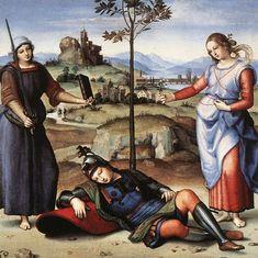 Vision of a Knight, 1504, Raphael Size: 17.3x17.1 cm Medium: oil, poplar
