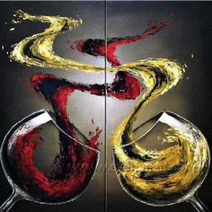 Framed !!! Wall Decor Handmade Wine Art Group Abstract Oil Painting On Canvas - Paintings