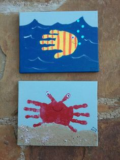 We made these for my sons ocean themed bathroom.