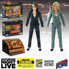 """Amy Poehler and Tina Fey SNL """"Weekend Update"""" Exclusive Action Figures SDCC"""