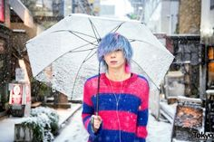 Snowy Harajuku Street Style w/ Blue-Pink Hair, Nincompoop Capacity Sweater, Levi's & Dr. Martens