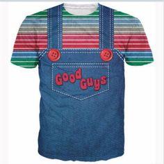 Newest Fashion Womens/Mens halloween Chucky good guys bib 3D print T-Shirt GB45 | eBay