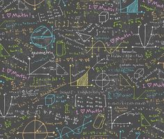 A whole chalkboard of colorful equations! Includes formulas and drawings from algebra, geometry, trigonometry, calculus, linear algebra, differential equations, and more!