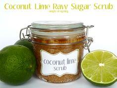 Coconut Lime Raw Sugar Scrub!!  - so yummy smelling and is an amazing DIY Homemade scrub to exfoliate and get your hands / feet / bod summer ready!  #scrub #diy #homemade