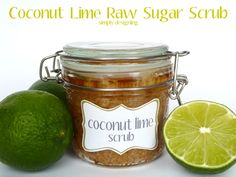 Coconut Lime Raw Sugar Scrub!!  - so yummy smelling and is an amazing DIY Homemade scrub to exfoliate and get your hands / feet / bod summer ready!  #scrub #diy #homemade