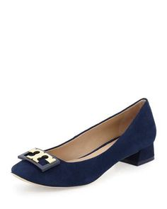 TORY BURCH Annie Logo Suede 25Mm Pump, Navy. #toryburch #shoes #pumps