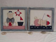 Cuadros infantiles motivos marineros de ositos, hechos a mano, con motivos en relieve.