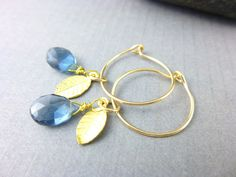Blue Quartz Briolette Earrings & Gold-Fill, cleansed & energy activated by EarthEnergyGemstones