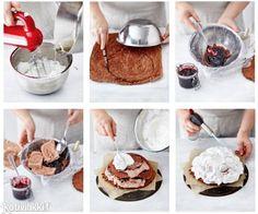 Retroherkku uunijäätelö saa uhkean päivityksen, kun siihen lisätään suklaista kakkutaikinaa ja pilvenpehmeää marenkia. Text: Sanna Kekäläinen Pic: Reetta Pasanen #icecreamcake #icecream #cake #chocolate