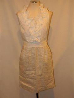 Fab NWT $89.50! ANN TAYLOR LOFT Sleeveless Cotton & Metallic Linen DRESS size 0P #AnnTaylorLOFT #Cocktail