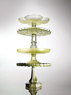 Citrine hues, including bold Vaseline (a reference to the petroleum jelly, second from top), are prime picks for collectors. An iridescent p. Cake And Cupcake Stand, Cupcake Display, Kitchenaid, Prop House, Vintage Cake Stands, Pedestal Cake Stand, Dessert Stand, Wedding Cake Stands, Vintage Cups