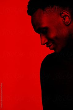 African American young man in red by Leandro Crespi - Stocksy United Foto Portrait, Portrait Photography Men, Portrait Shots, Colour Gel Photography, Red Photography, Light Shoot, Afro, Blackwork, Album Cover