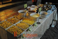 pasta station. For Elise Bradshaw's wedding one day. PASTA BAR!!!! FORGET PANCAKE BARS!!