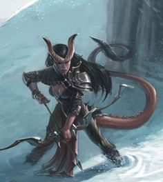 Female Tiefling probably a ranger. The tail is excellent, but a little on the long side.