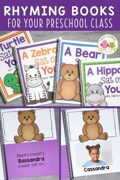 These silly rhyming books for preschoolers feature your kids' names and pictures. Your kids will beg to read these fun lift-the-flap books over and over. Share the class books during circle time or add them to your class library. Teach kids rhyming, phonological awareness, & literacy skills as they learn to recognize rhymes, & produce rhymes. The editable printables are easy to customize and assemble. Ideas for extension activities are included Word Family Activities, Rhyming Activities, Phonics Games, Language Activities, Writing Activities, Kindergarten Readiness, Literacy Skills, Early Literacy, Learning Sight Words