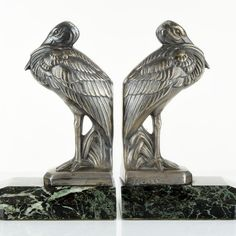 Superb 1920s French ART DECO Marabou Stork Sculptur BOOKENDS by MAURICE FRECOURT
