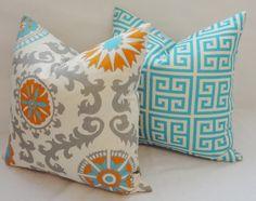 Two Turquoise Blue Grey Orange Greek Key Pillow Cover Decorative Throw Pillow 18x18 via Etsy