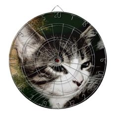 Thoughtful Kitten Dartboard With Darts!  #kitten #zazzle #store #gift #present #customize #cute #meow #fuzzy http://www.zazzle.com/conquestkitty*