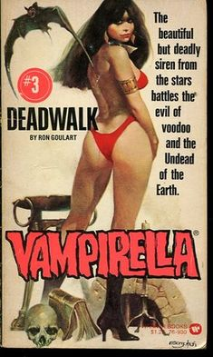 Vampirella in cover art for book by Ron Goulart. Pulp Fiction Kunst, Arte Do Pulp Fiction, Pulp Fiction Book, Bd Comics, Horror Comics, Comics Girls, Horror Art, Horror Books, Comic Books Art