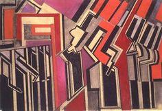 Wyndham Lewis Duo rouge / Red duet Craie et gouache sur papier / Chalk and gouache on paper x 56 cm 1914 (plus de / more by Wyndham Lewis) Wyndham Lewis, Italian Futurism, Futurism Art, Modernist Movement, Work Inspiration, Cubism, Art World, Modern Art, Cool Art
