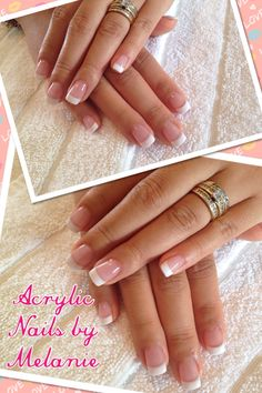 Full set of French nails & the white is sculpted by hand