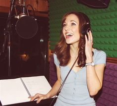 Laura Osnes in the studio for the cast recording of Cinderella