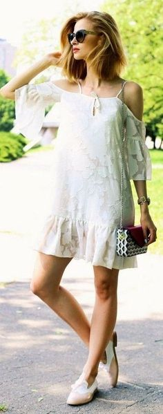 #summer #trending #outfits | Off The Shoulder Little White Dress
