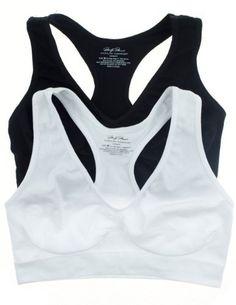 b33ad77a2c 2 Pack  Marilyn Monroe Seamless Comfort Bras Racerback White Charcoal  (Medium
