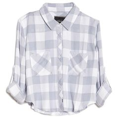 Rails Rian Two Pocket Flannel Top found on Polyvore featuring tops, shirts, blouses, camisas, flannel shirts, white tops, shirts & tops, 3/4 sleeve crop top and white shirt