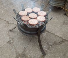 Barbecue/Fire Pit - made out of recycled car wheel rims - by Alan Ross (artinsteel)