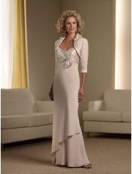 A-line Silky Crepe Pleated Empire Bodice Gathered Tapered Shoulder Straps Sweetheart Neckline Mother of the Bride Dress (MMC111906)