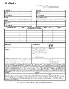 bill of lading printable form