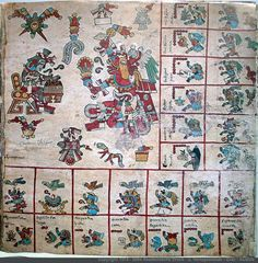 """Page 2 Codex Borbonicus. Ventas of Ahau trecena. Dancing Huehuecoyoytl """"old coyote"""" being sung to in the """"flower song"""" or poetry of a drummer with distinctive face paint. In the top left corner there is what seems to be a star, as stars are usually represented as eyes in Mexica documents, pierced by twin maguey thorns and topped with flowers. My suspicion, and I have documented it as such in the charts, is that this star is Venus. -Taylor Bolinger"""