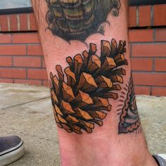 """veganweedsoup: """" clenjer: """" Super fun pine cone filler from yesterday next an awesome eye by . Thank you a ton pat! (at Black Metal Tattoo Co. Dope Tattoos, Leg Tattoos, Body Art Tattoos, Sleeve Tattoos, Tattoo Art, Fall Tattoo, Awesome Tattoos, Tatoos, Traditional Tattoo Nature"""