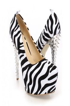 Zebra Velvet Faux Leather Platform Pump Heels $30