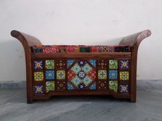 For Sale Solid wood and brass fitted Settee For More Information Please Visit http://usedfurnitures.in/product/brass-tile-fitted-settee-1923 or www.usedfurnitures.in or Call: 8826755599