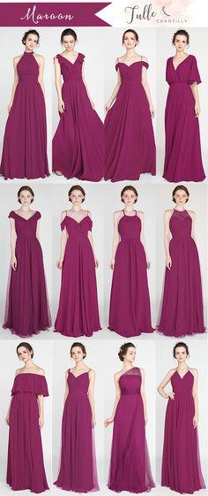 maroon bridesmaid dresses for fall 2018 #wedding #weddinginspiration #bridesmaids #bridesmaiddress #bridalparty #maidofhonor #weddingideas #fallwedding