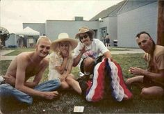 Left To Right: Layne Staley Kat Bjelland Les Claypool and Maynard James Keenan hanging out in the early 90s.