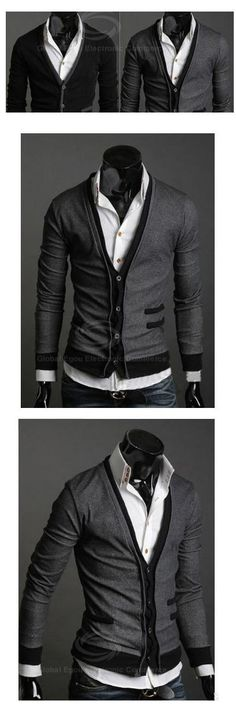 Vneck Long Sleeve Cardigan. Buttoned shirt though and possible tie.