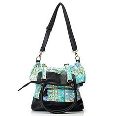 One World Print Canvas Double Buckle Fold Over Messenger Bag