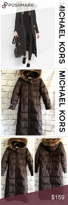 """💕SALE💕Michael Kors Fur Lined Hooded Puffer Coat Gorgeous 💕Michael Kors Fur Lined Hooded Puffer Coat with Zip sides at bottom and 4 pockets in front. Snap belted sleeves 49"""" from the top of the shoulder to the bottom 24"""" Sleeve Length 21"""" from armpit to armpit 17"""" across the shoulders. This is an amazing warm jacket that will keep your whole body warm and you can't go wrong with Michael Kors Quality Perfect for Winter or those cold nights sitting outside at your Kids Games. Size tag has…"""